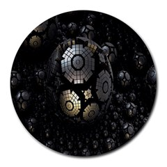 Fractal Sphere Steel 3d Structures Round Mousepads
