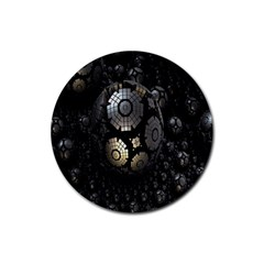 Fractal Sphere Steel 3d Structures Rubber Round Coaster (4 Pack)