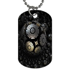 Fractal Sphere Steel 3d Structures Dog Tag (One Side) by Nexatart