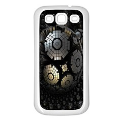 Fractal Sphere Steel 3d Structures Samsung Galaxy S3 Back Case (white) by Nexatart