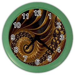 Fractal Spiral Endless Mathematics Color Wall Clocks by Nexatart