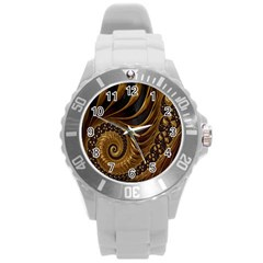 Fractal Spiral Endless Mathematics Round Plastic Sport Watch (l)