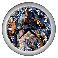 Frost Leaves Winter Park Morning Wall Clocks (silver)  by Nexatart