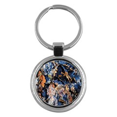 Frost Leaves Winter Park Morning Key Chains (round)  by Nexatart