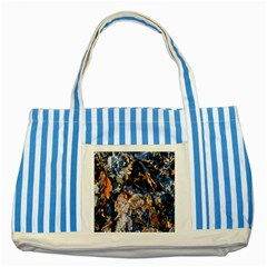 Frost Leaves Winter Park Morning Striped Blue Tote Bag by Nexatart