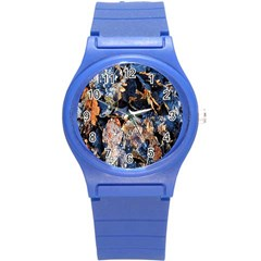 Frost Leaves Winter Park Morning Round Plastic Sport Watch (s) by Nexatart