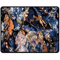 Frost Leaves Winter Park Morning Double Sided Fleece Blanket (medium)