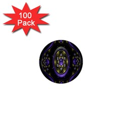 Fractal Sparkling Purple Abstract 1  Mini Buttons (100 Pack)  by Nexatart