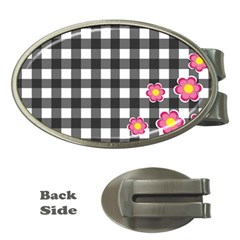 Floral Plaid Pattern Money Clips (oval)  by Valentinaart