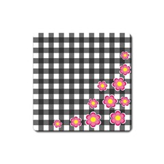 Floral Plaid Pattern Square Magnet by Valentinaart