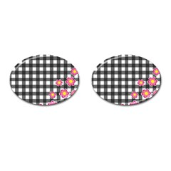 Floral Plaid Pattern Cufflinks (oval) by Valentinaart