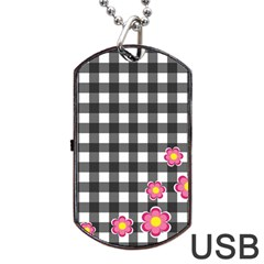 Floral Plaid Pattern Dog Tag Usb Flash (one Side) by Valentinaart