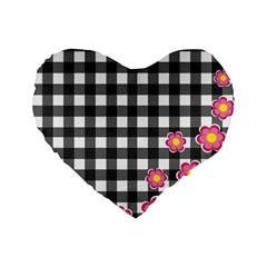 Floral Plaid Pattern Standard 16  Premium Heart Shape Cushions by Valentinaart