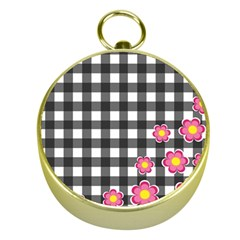 Floral Plaid Pattern Gold Compasses by Valentinaart
