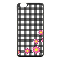 Floral Plaid Pattern Apple Iphone 6 Plus/6s Plus Black Enamel Case by Valentinaart