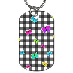 Butterflies Pattern Dog Tag (one Side) by Valentinaart