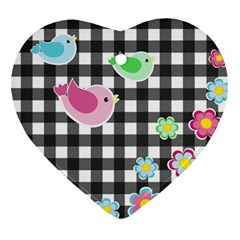 Cute Spring Pattern Heart Ornament (two Sides) by Valentinaart