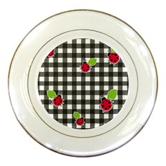 Ladybugs Plaid Pattern Porcelain Plates by Valentinaart