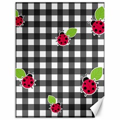Ladybugs Plaid Pattern Canvas 12  X 16   by Valentinaart