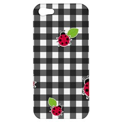 Ladybugs Plaid Pattern Apple Iphone 5 Hardshell Case by Valentinaart