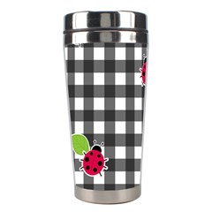 Ladybugs Plaid Pattern Stainless Steel Travel Tumblers by Valentinaart