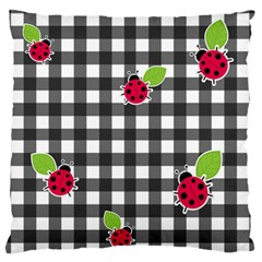 Ladybugs Plaid Pattern Large Flano Cushion Case (one Side) by Valentinaart