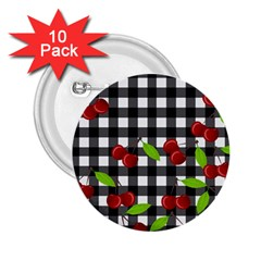 Cherries Plaid Pattern  2 25  Buttons (10 Pack)  by Valentinaart