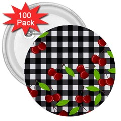 Cherries Plaid Pattern  3  Buttons (100 Pack)  by Valentinaart