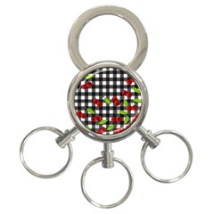 Cherries Plaid Pattern  3 Ring Key Chains by Valentinaart