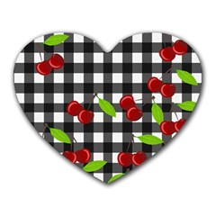 Cherries Plaid Pattern  Heart Mousepads by Valentinaart
