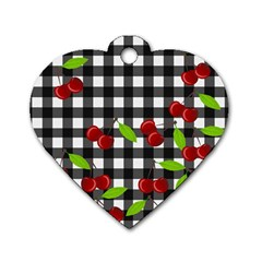 Cherries Plaid Pattern  Dog Tag Heart (one Side) by Valentinaart
