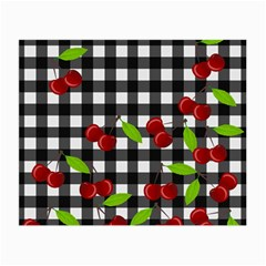 Cherries Plaid Pattern  Small Glasses Cloth (2 Side) by Valentinaart