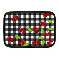 Cherries Plaid Pattern  Netbook Case (medium)  by Valentinaart