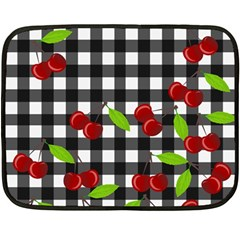 Cherries Plaid Pattern  Double Sided Fleece Blanket (mini)  by Valentinaart