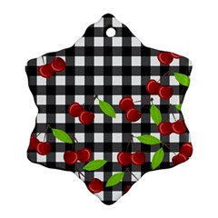 Cherries Plaid Pattern  Snowflake Ornament (two Sides) by Valentinaart