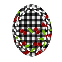 Cherries Plaid Pattern  Ornament (oval Filigree) by Valentinaart
