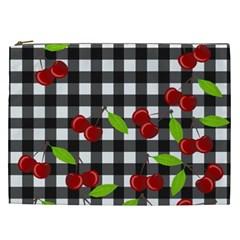 Cherries Plaid Pattern  Cosmetic Bag (xxl)  by Valentinaart