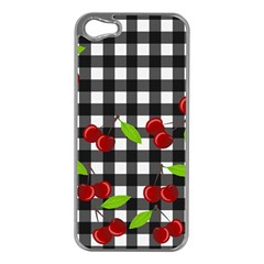 Cherries Plaid Pattern  Apple Iphone 5 Case (silver) by Valentinaart