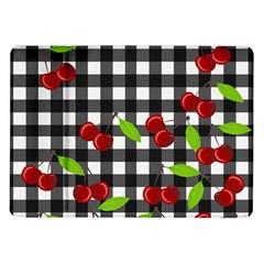 Cherries Plaid Pattern  Samsung Galaxy Tab 10 1  P7500 Flip Case by Valentinaart