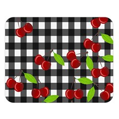 Cherries Plaid Pattern  Double Sided Flano Blanket (large)  by Valentinaart