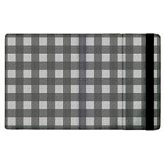 Gray Plaid Pattern Apple Ipad 2 Flip Case by Valentinaart