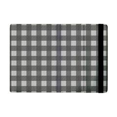 Gray Plaid Pattern Apple Ipad Mini Flip Case by Valentinaart