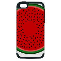 Watermelon Apple Iphone 5 Hardshell Case (pc+silicone) by Valentinaart