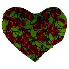 Cherry Jammy Pattern Large 19  Premium Flano Heart Shape Cushions by Valentinaart