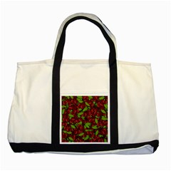 Cherry Pattern Two Tone Tote Bag by Valentinaart
