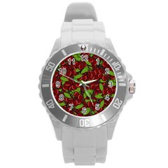 Cherry Pattern Round Plastic Sport Watch (l) by Valentinaart