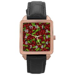 Cherry Pattern Rose Gold Leather Watch  by Valentinaart