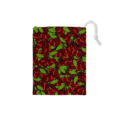 Cherry Pattern Drawstring Pouches (small)  by Valentinaart