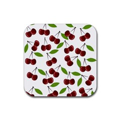 Cherry Pattern Rubber Square Coaster (4 Pack)  by Valentinaart