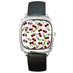 Cherry Pattern Square Metal Watch by Valentinaart